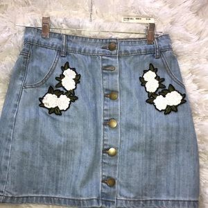 Forever 21 Denim skirt with flower patches